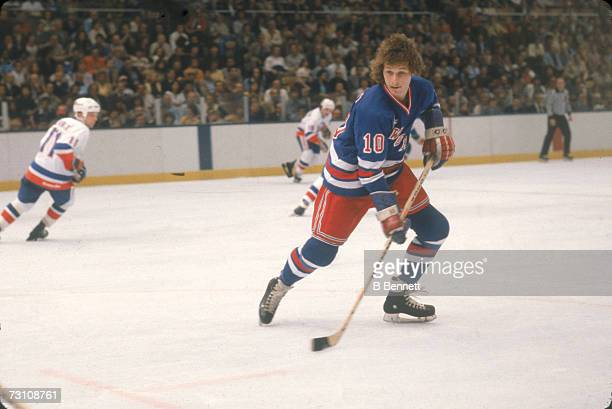 Canadian hockey player Ron Duguay of the New York Rangers on the ice during a game against the New York Islanders May 1981