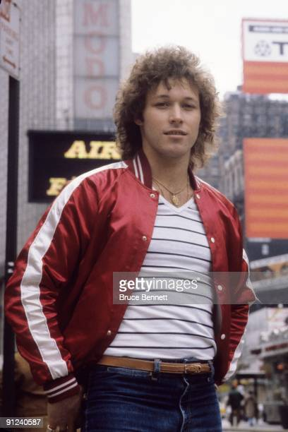 Canadian hockey player Ron Duguay of the New York Rangers poses for a portrait on the streets on New York City in March of 1980 in New York New York