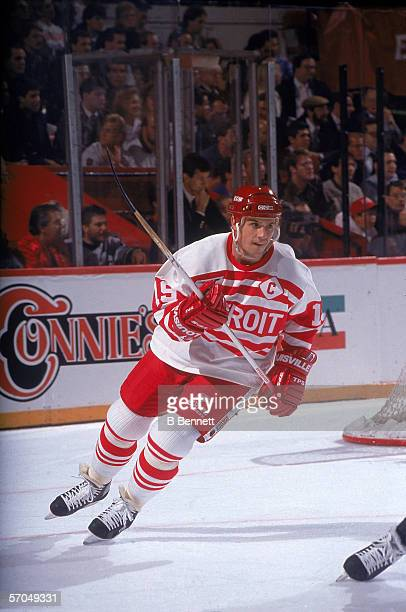 Canadian hockey player Steve Yzerman of the Detroit Red Wings on the ice in a vintage jersey during a game in the 199192 season