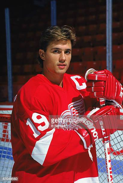 Canadian hockey player Steve Yzerman of the Detroit Red Wings poses for a promotional portrait on the ice Montreal Quebec Canada September 1990