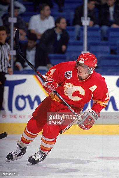 Canadian hockey player Theo Fleury of the Calgary Flames on the ice during a game early 1990s