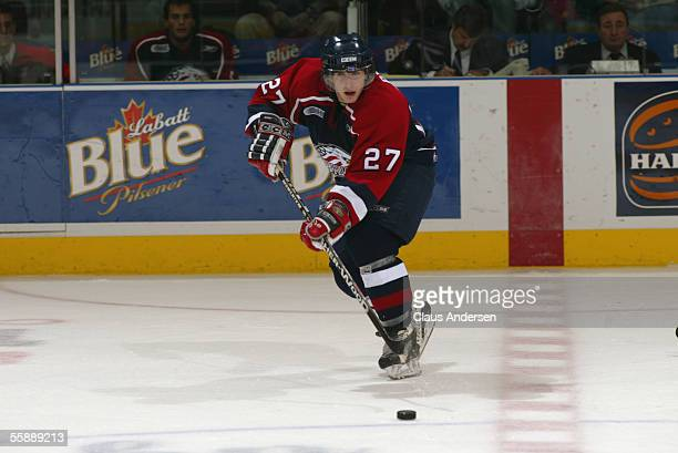 Canadian hockey player Tom Pyatt, center for the Saginaw Spirit, follows the puck during a game with the London Knights at the John Labatt Centre,...