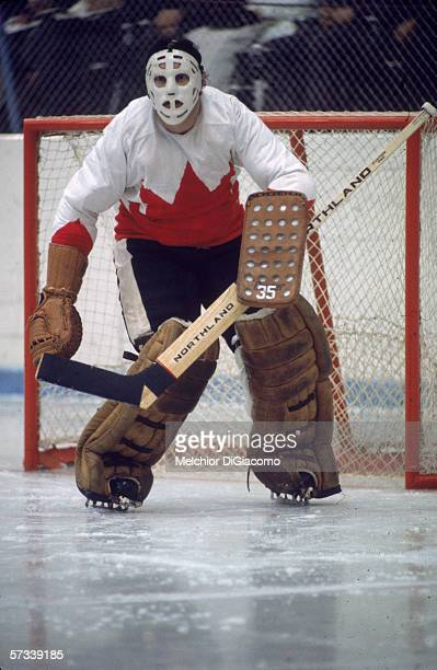 Canadian hockey player Tony Esposito goalie for Team Canada guards the net during a 1972 Summit Series game September 1972