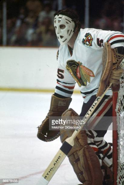 Canadian hockey player Tony Esposito goalie for the Chaicago Blackhawks defends the net 1970s