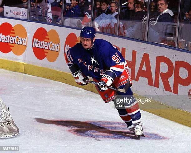 Canadian hockey player Wayne Gretzky forward of the New York Rangers skates on the ice in his last professional hockey game Madison Square Garden New...