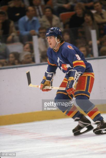 Canadian hockey player Wilf Paiement of the Colorado Rockies skates on the ice during a game against the New York Islanders at Nassau Coliseum...
