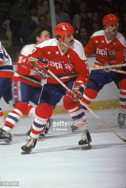 Canadian hockey player Yvon Labre of the Washington Capitals during a game against the New York Islanders at Nassau Coliseum, Uniondale, New York,...