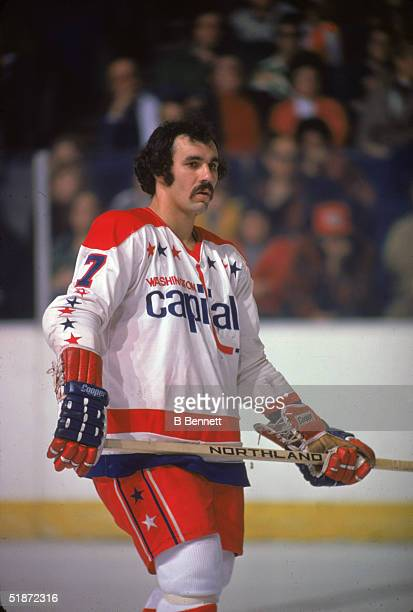 Canadian hockey player Yvon Labre of the Washington Capitals keeps an eye on the action during a home game, Washington DC, mid 1970s.