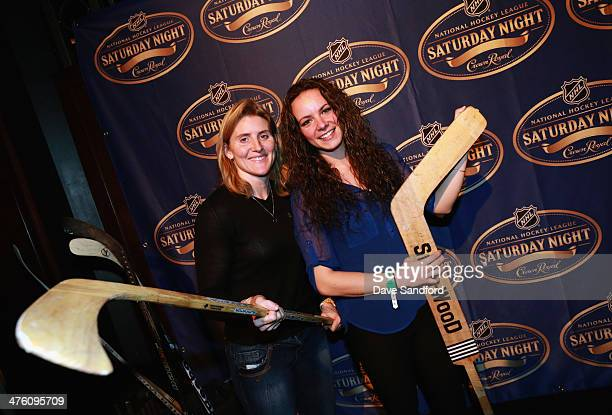 Canadian hockey players Hayley Wickenheiser and Shannon Szabados attend the 2014 NHL Heritage Classic Saturday Night Party at Commodore Ballroom on...