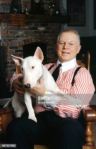 Canadian ice hockey commentator for CBC Television Don Cherry poses for a portrait with his dog circa March 1991