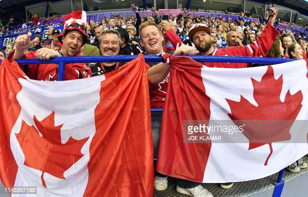 Canadian ice hockey fans cheer up their team during the IIHF Men's Ice Hockey World Championships Group A match between Britain and Canada on May 12...