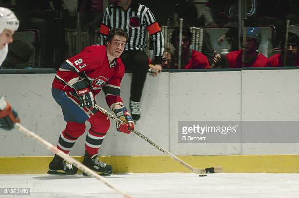 Canadian ice hockey player Bob Gainey of the Montreal Canadiens skates with the puck during a game 1979 or 1980