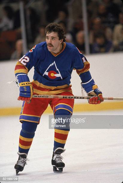Canadian ice hockey player Bob MacMillan of the Colorado Rockies on the ice during a road game December 1981