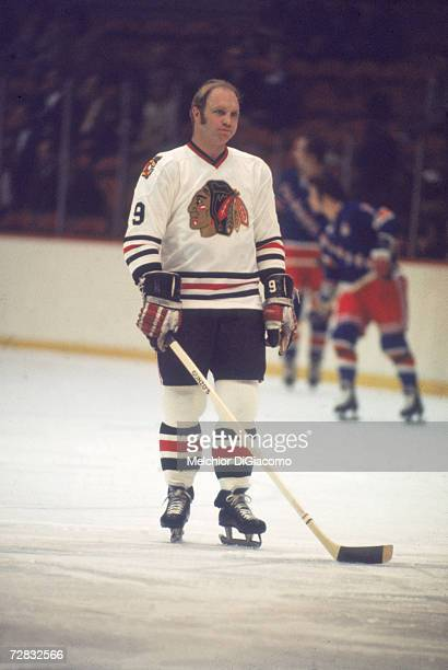 Canadian ice hockey player Bobby Hull of the Chicago Blackhawks skates on the ice during a game late 1960s or early 1970s