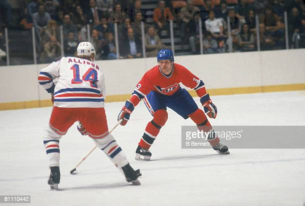 Canadian ice hockey player Brian Engblom of the Montreal Canadiens guards Mike Allison of the New York Rangers during a game October 1982