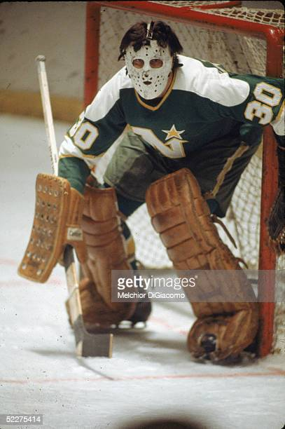 Canadian ice hockey player Cesare Maniago goalkeeper for the Minnesota North Stars in action during a road game early 1970s