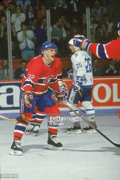 Canadian ice hockey player Claude Lemieux of the Montreal Canadiens celebrates a goal on the ice during a game against the Quebec Nordiques Canada...