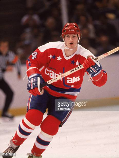 Canadian ice hockey player Gaetan Duchesne in the uniform of the Washington Capitals skates in a game against the New York Rangers at Madison Square...