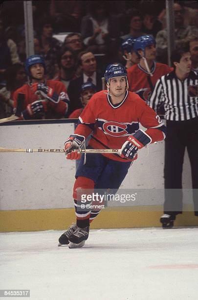Canadian ice hockey player Guy Carbonneau of the Montreal Canadiens on the ice during a game February 1983