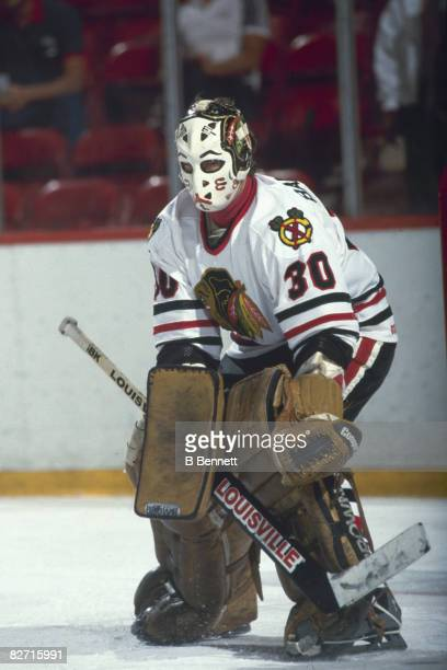 Canadian ice hockey player Murray Bannerman goalkeeper for the Chicago Blackhawks on the ice during a game 1980s