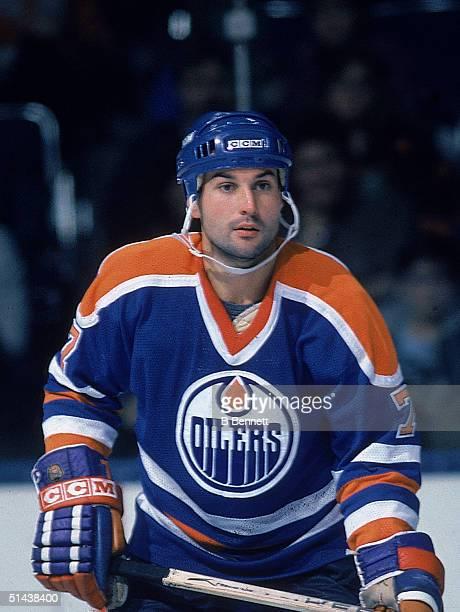 Canadian ice hockey player Paul Coffey of the Edmonton Oilers, Edmonton, Alberta, Canada, 1986.