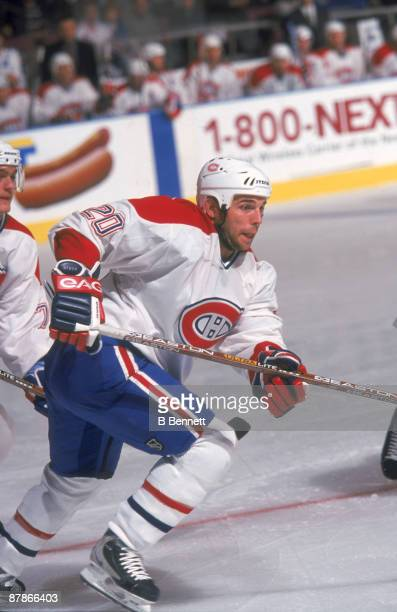Canadian ice hockey player PJ Stock of the Montreal Canadiens on the ice during a game October 2000