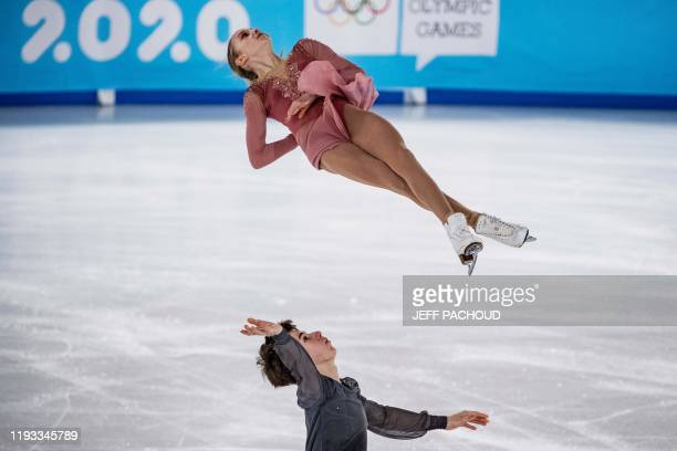 Canadian ice skaters Brooke McInstosh and Brandon Toste compete during the Pair Skating of the Lausanne 2020 Winter Youth Olympic Games in Lausanne,...