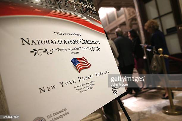 Canadian immigrants and Holocaust survivors Kenneth Dancyger and Ida Dancyger arrive to their naturalization ceremony September 17 2013 in New York...