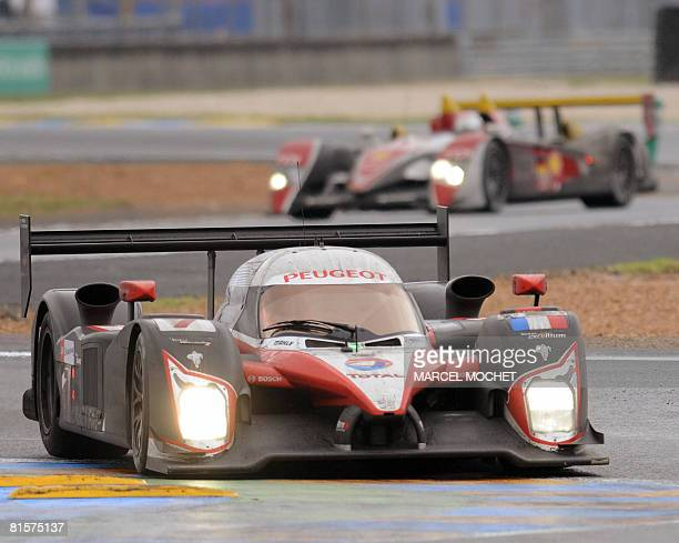 Canadian Jacques Villeneuve drives his Peugeot 908 HDiFAP n7 during the Le Mans 24 Hours 76th edition race on June 15 2008 in Le Mans western France...