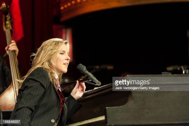 Canadian jazz musician Diana Krall plays piano with her quartet at the Box New York New York September 24 2012