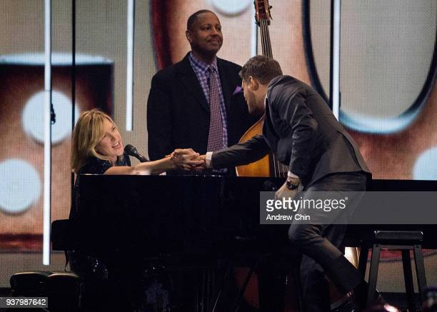 Canadian jazz pianist Diana Krall and Singer Michael Buble perform on stage during the 2018 JUNO Awards at Rogers Arena on March 25 2018 in Vancouver...