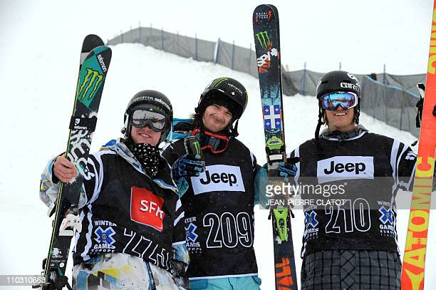 Canadian JF Houle gold medalist Norway's Andreas Hatveit silver and British James Woods bronze pose on the podium of the Men's Skiing Slopestyle...