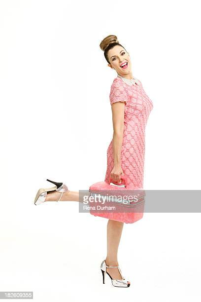 Canadian journalist and TV personality Thea Andrews is photographed for Thrifty Hunter Magazine on September 18 2013 in Los Angeles California...