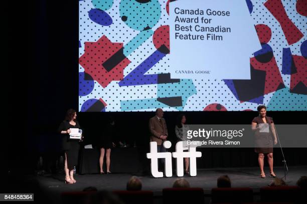 Canadian Jury member Ella Cooper presents The Canada Goose Award for Best Canadian Feature Film for 'Les Affamés' at the 2017 TIFF Awards Ceremony at...