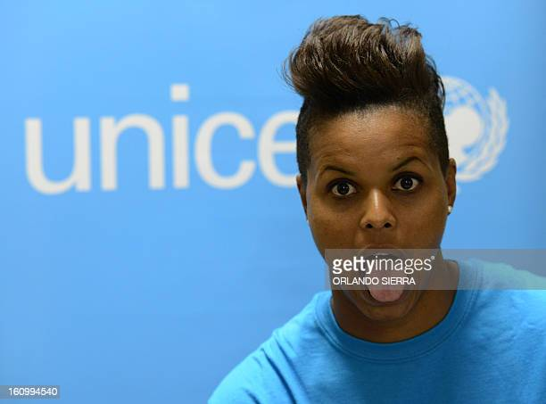 Canadian Karina LeBlanc UNICEF goodwill ambassador jokes during a press conference in Tegucigalpa on February 8 2013 LeBlanc goalie of the Canadian...