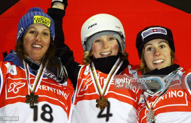 Canadian Kristi Richards celebrates on podium of the Women's Moguls race of the Freestyle World Championship in Madonna di Campiglio 09 March 2007...