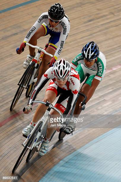 Canadian Laura Brown mexican Jessica Jurado and Colombian Maria Lorena Vargas womens 25 km points competition at the Pan American Cyclism...