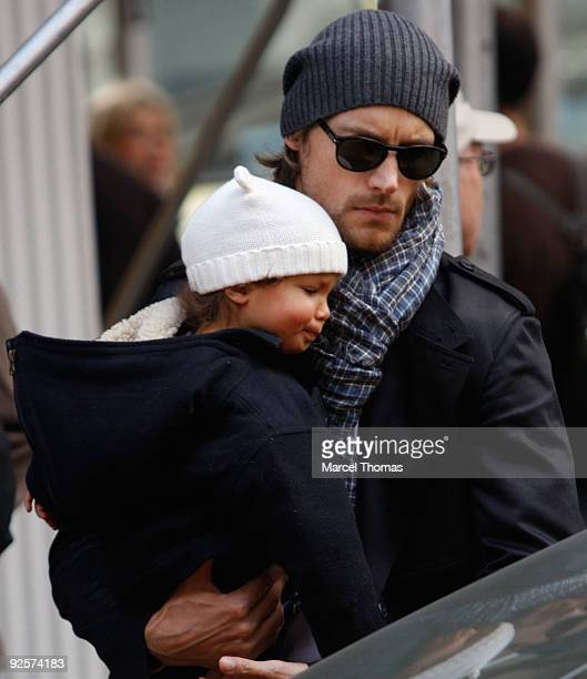 Canadian male model Gabriel Aubry and daughter with actress Halle Berry Nahla Abriela Aubry walk together on the Streets of Manhattan on October 30...