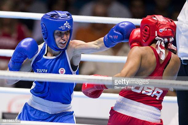 OSHAWA ON JULY 25 Canadian Mandy Bujold defeats Marlen Esparza of the USA in the Pan Am Games Womens Fly final bout to win gold July 25 2015
