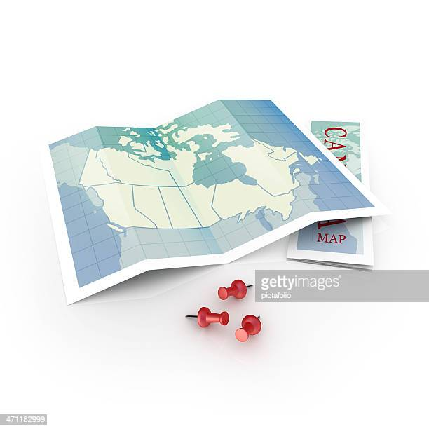Canadian map with three red thumbtacks