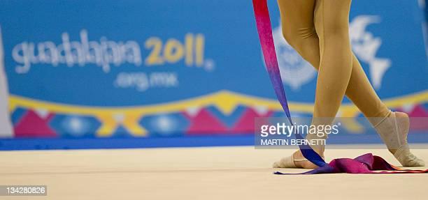Canadian Maria Kitkarska performs during the Rhythmic Gymnastics individual competition with the ribbon during the XVI PanAmerican Games Guadalajara...