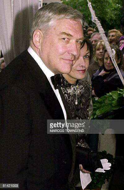 Canadian media tycoon Conrad Black and his wife Barbara Amiel arrive for the wedding reception of former Canadian Prime Minister Brian Mulroney's...