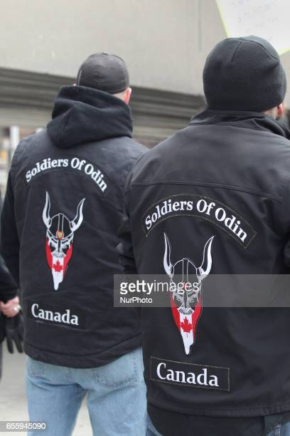 Canadian members of the Soldiers of Odin take part in a demonstration against Islam Muslims Sharia Law and M103 in downtown Toronto Ontario Canada on...