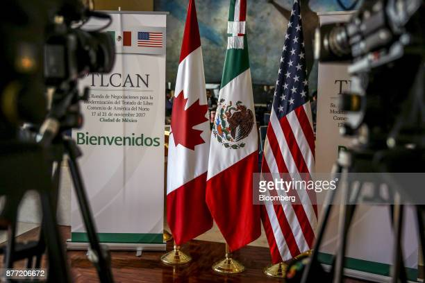 Canadian Mexican and American flags stand on display during the fifth round of North American Free Trade Agreement negotiations in Mexico City Mexico...