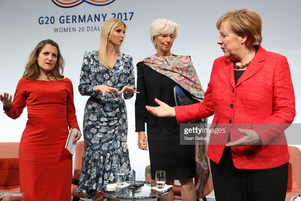Canadian Minister of Foreign Affairs Chrystia Freeland, Ivanka Trump, daughter of U.S. President Donald Trump, International Monetary Fund (IMF) Managing Director Christine Lagarde and German Chancellor Angela Merkel talk on stage at the W20 conference on April 25, 2017 in Berlin, Germany. The conference, part of a series of events in connection with Germany's leadership of the G20 group of nations this year, focuses on women's empowerment, especially through entrepreneurship and the digital economy.