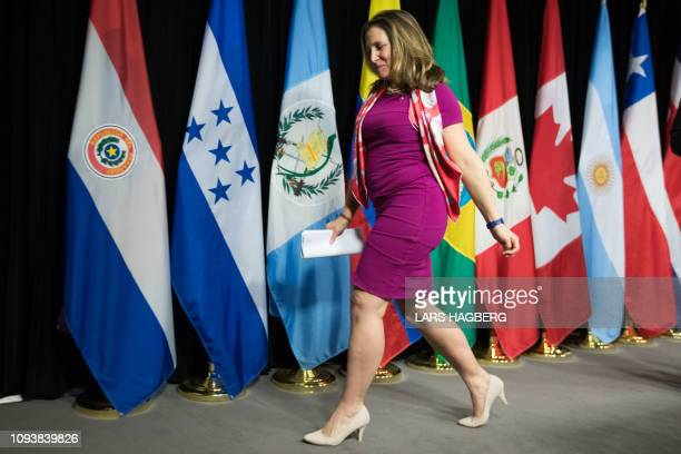 Canadian Minister of Foreign Affairs Chrystia Freeland leaves after the press conference for the 10th Lima Group meeting in Ottawa Ontario on...