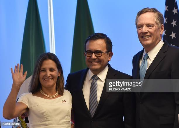 Canadian Minister of Foreign Affairs Chrystia Freeland Mexican Economy Minister Idelfonso Guajardo and US Trade Representative Robert Lighthizer are...