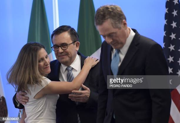 Canadian Minister of Foreign Affairs Chrystia Freeland Mexican Economy Minister Idelfonso Guajardo and US Trade Representative Robert Lighthizer...