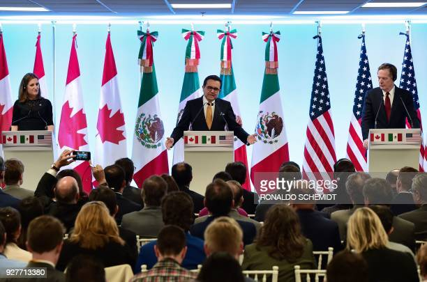 Canadian Minister of Foreign Affairs Chrystia Freeland Mexican Economy Minister Idelfonso Guajardo and US Trade Representative Robert Lighthizer give...