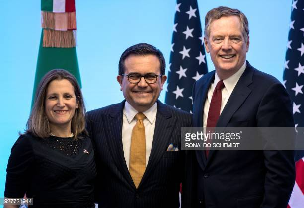 Canadian Minister of Foreign Affairs Chrystia Freeland Mexican Economy Minister Idelfonso Guajardo and US Trade Representative Robert Lighthizer pose...
